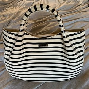 Kate Spade black white stripe Treesh handbag tote